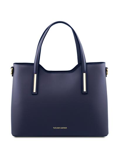 Geanta dama din piele naturala albastru inchis Tuscany Leather Olimpia