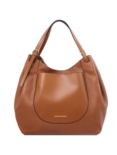 Geanta shopper Tuscany Leather din piele naturala coniac, Cinzia
