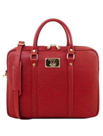 Geanta laptop dama eleganta Tuscany Leather, Prato, rosie