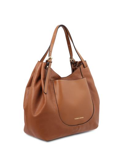 Geanta shopper dama Tuscany Leather din piele naturala coniac, Cinzia