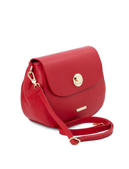 Geanta rosie din piele naturala Tuscany Leather, Fresia