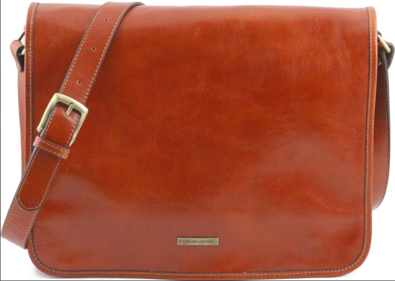 Geanta laptop din piele naturala tip messenger Tuscany Leather