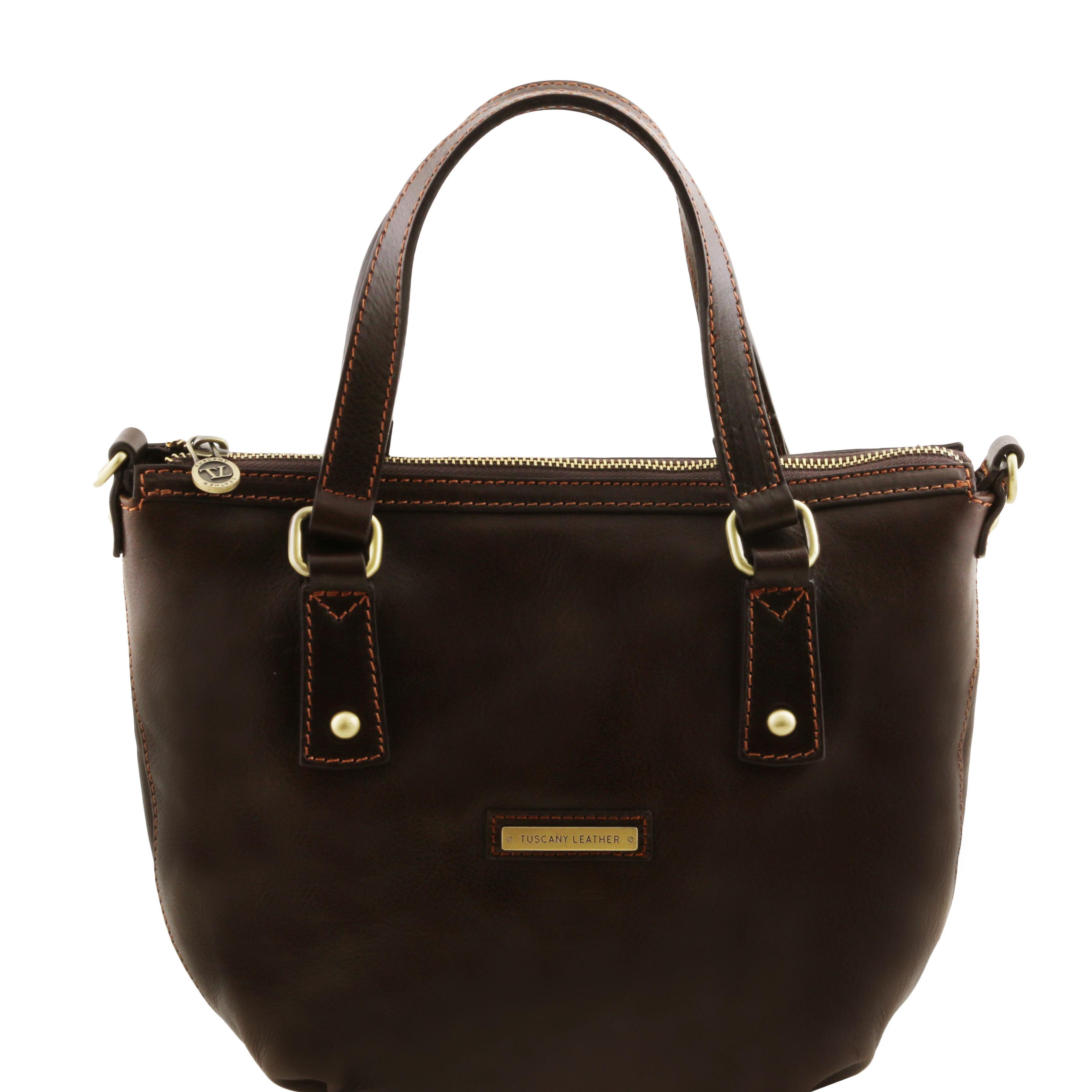 geanta de mana shopper Tuscany Leather din piele maro inchis Olga