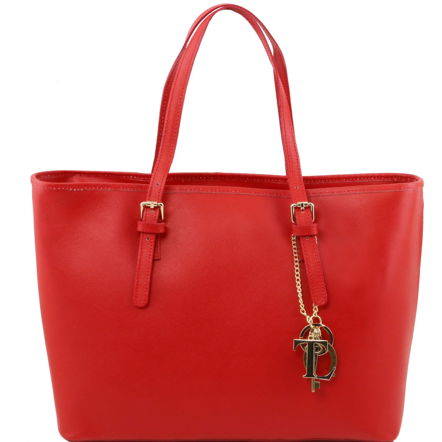 TL KeyLuck - Saffiano leather shopping bag with two handles red