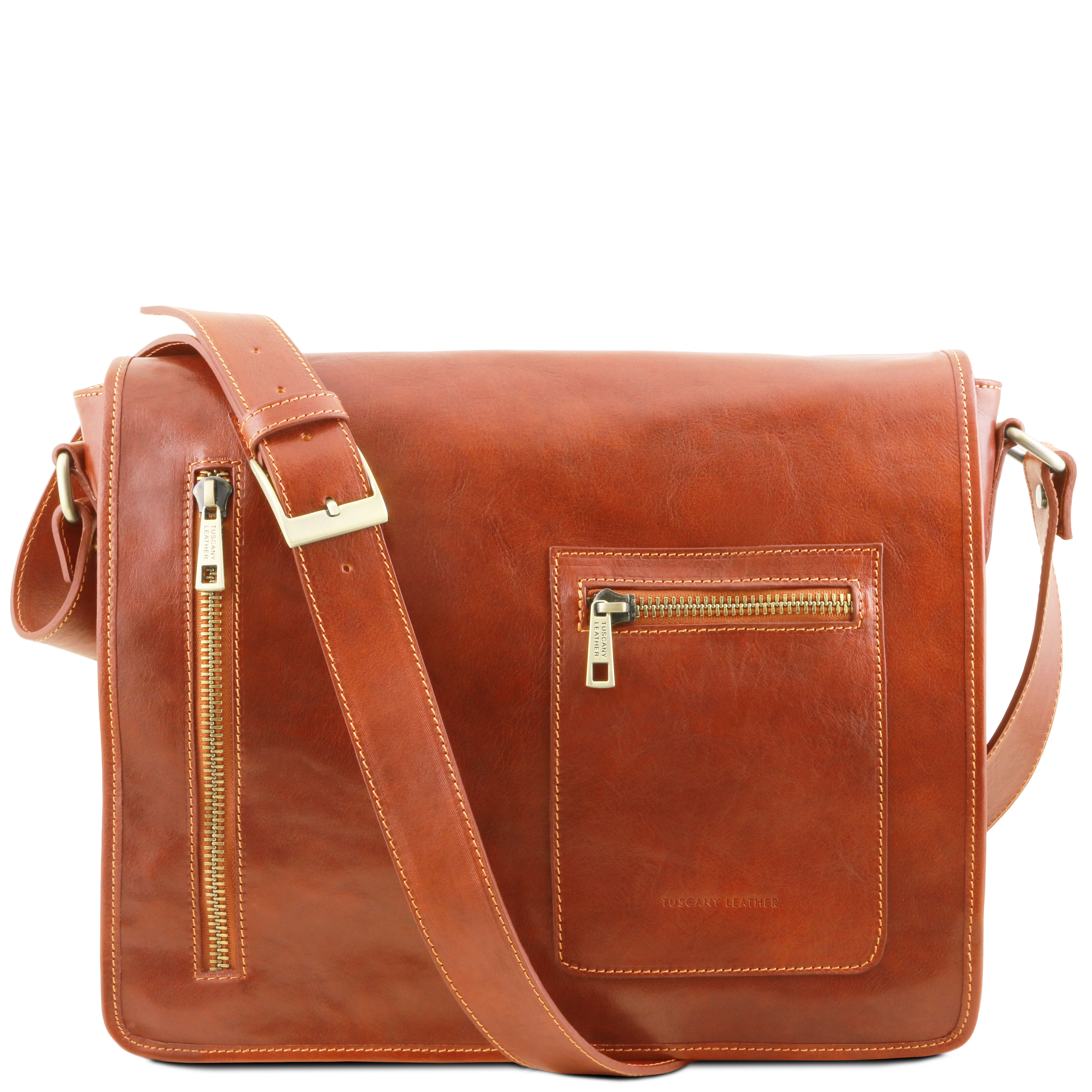 Geanta laptop Tuscany Leather tip messenger din piele honey