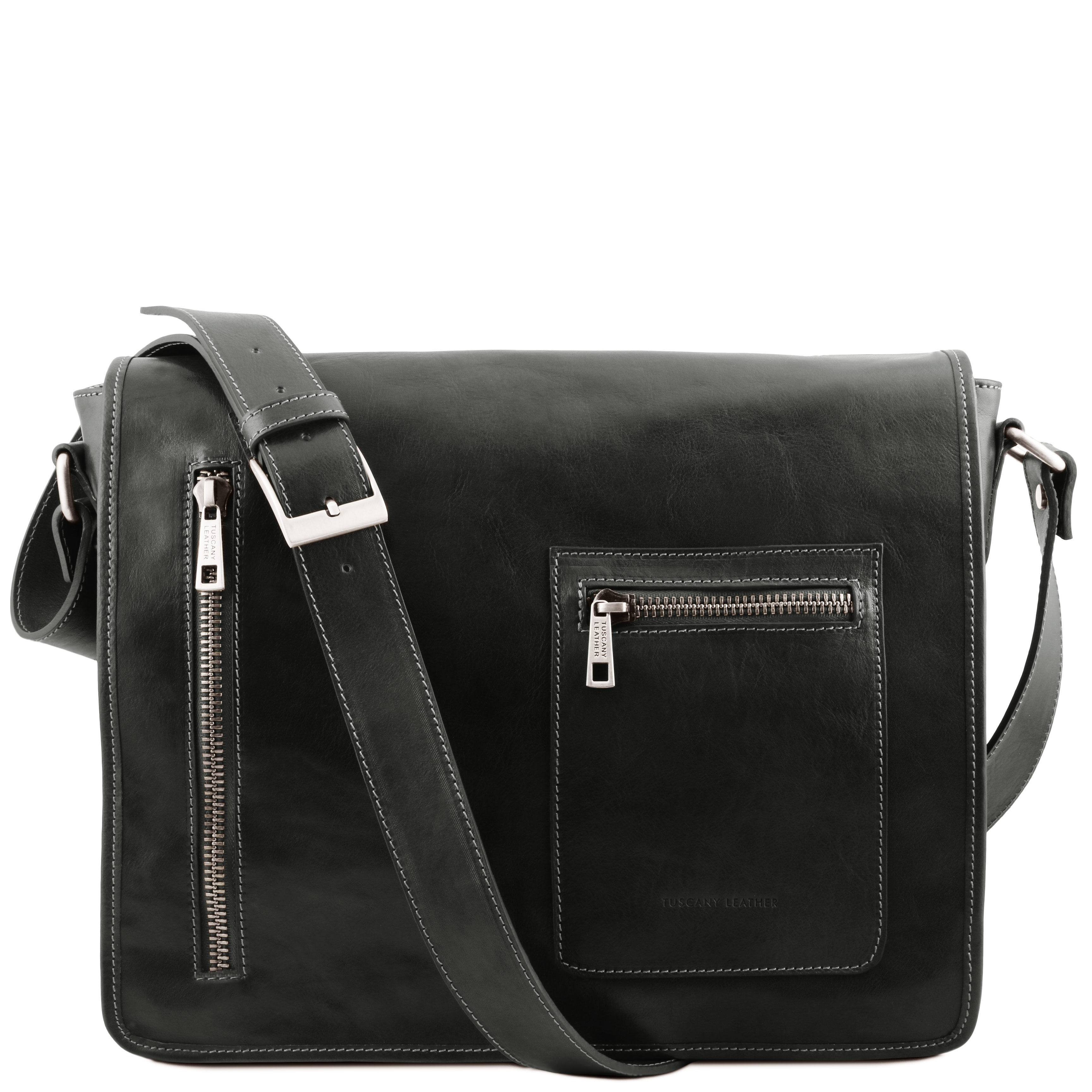 Geanta laptop Tuscany Leather tip messenger din piele neagra