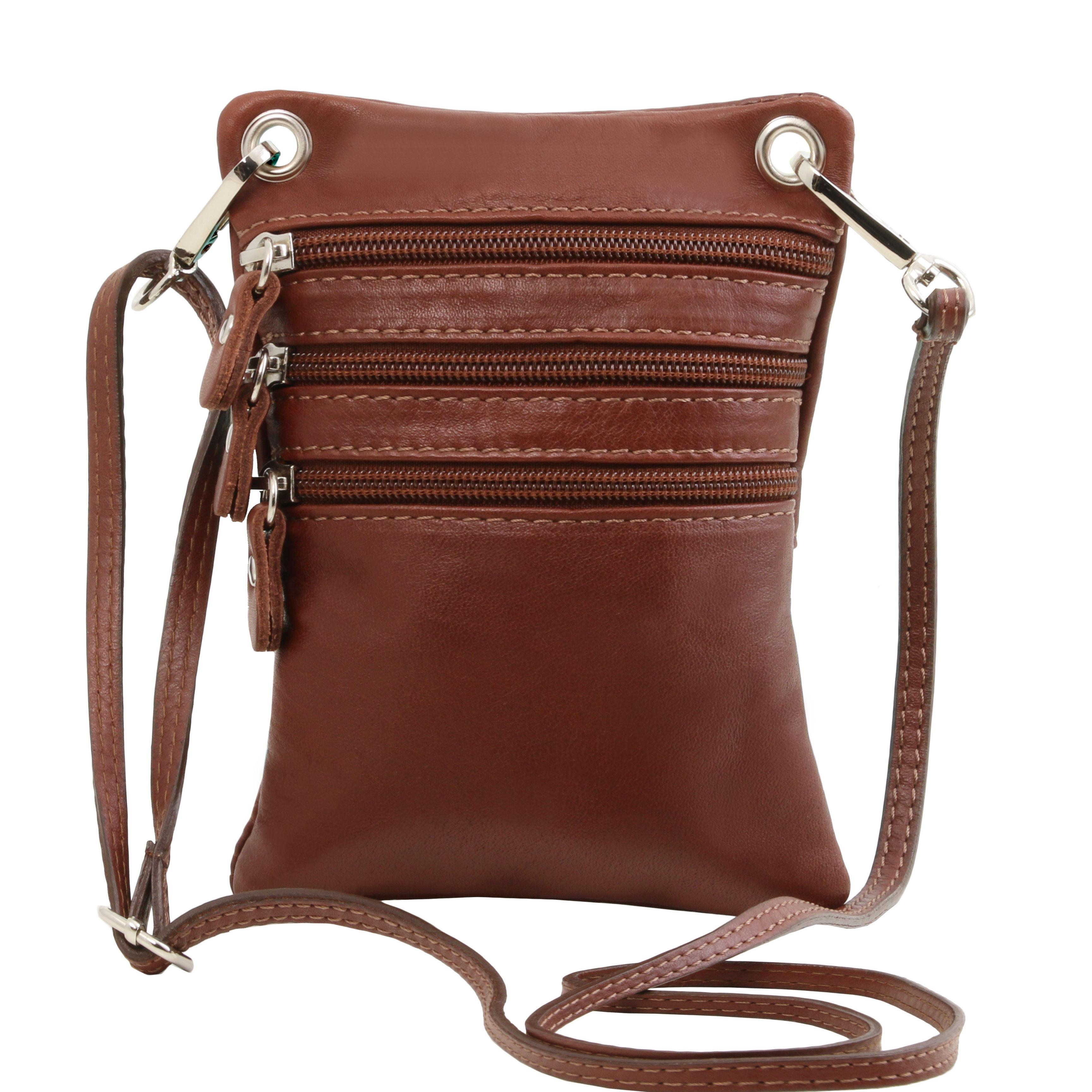 TL Bag - Geanta din piele soft mini cross maro