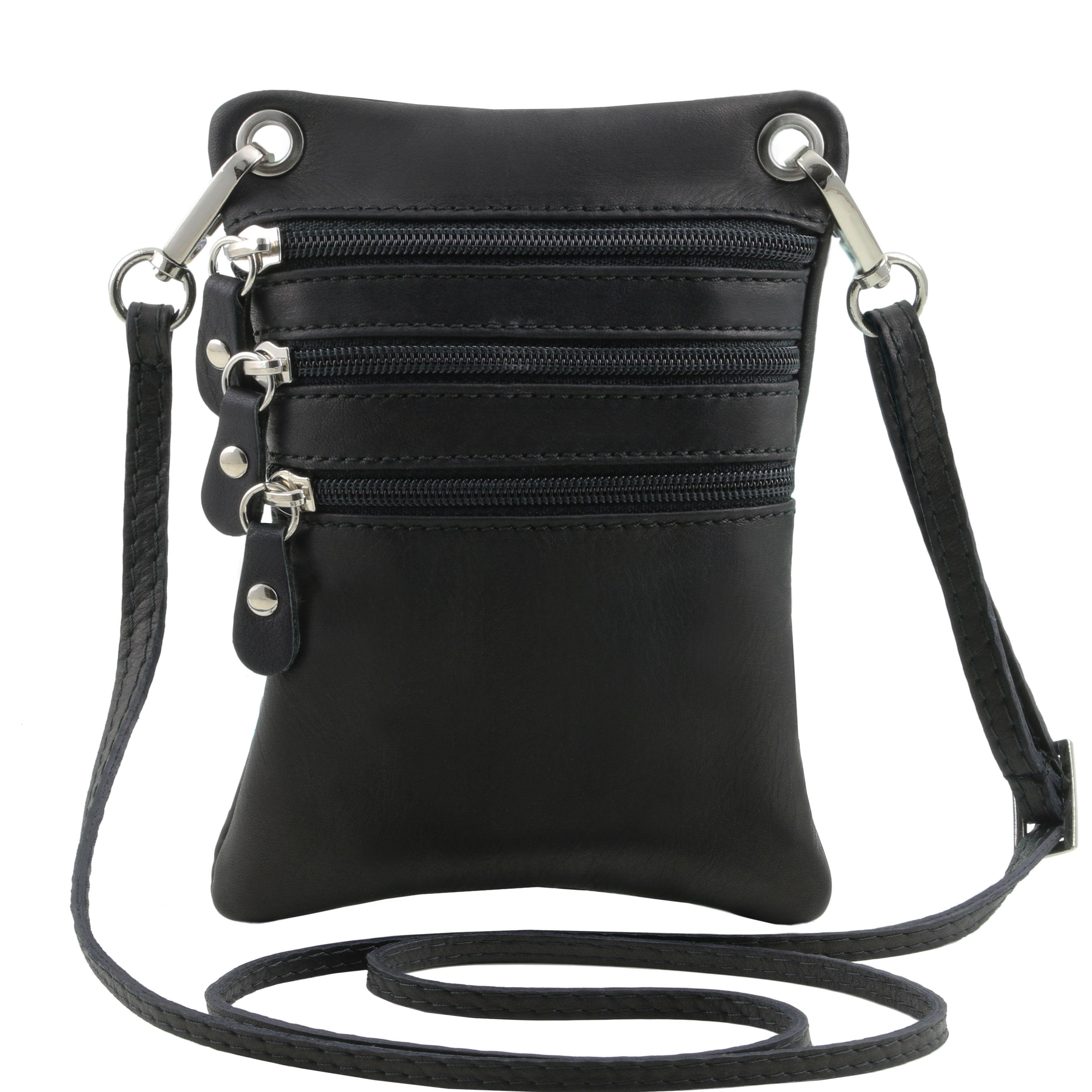 TL Bag - Geanta din piele soft mini cross neagra