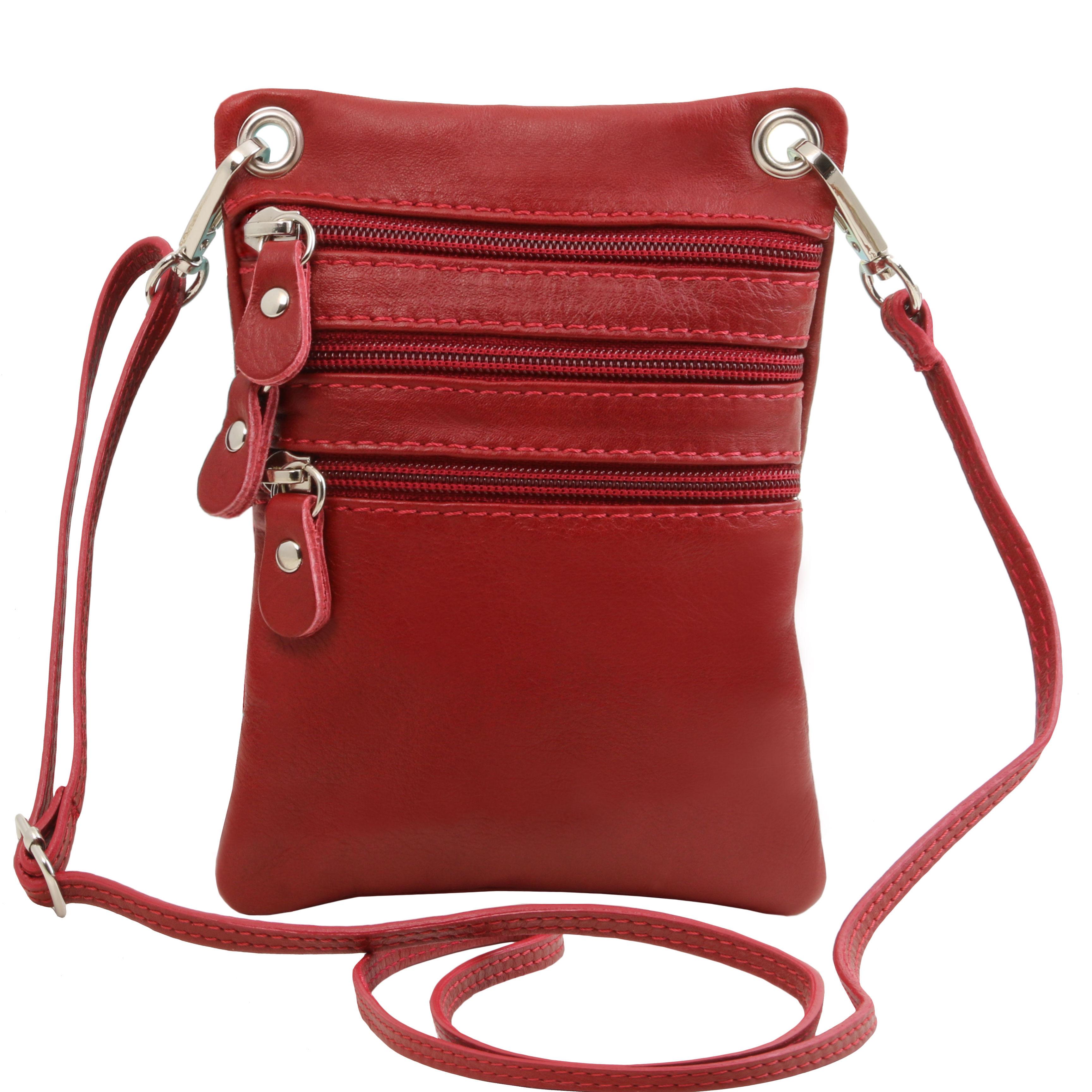 TL Bag - Geanta din piele soft mini cross rosie
