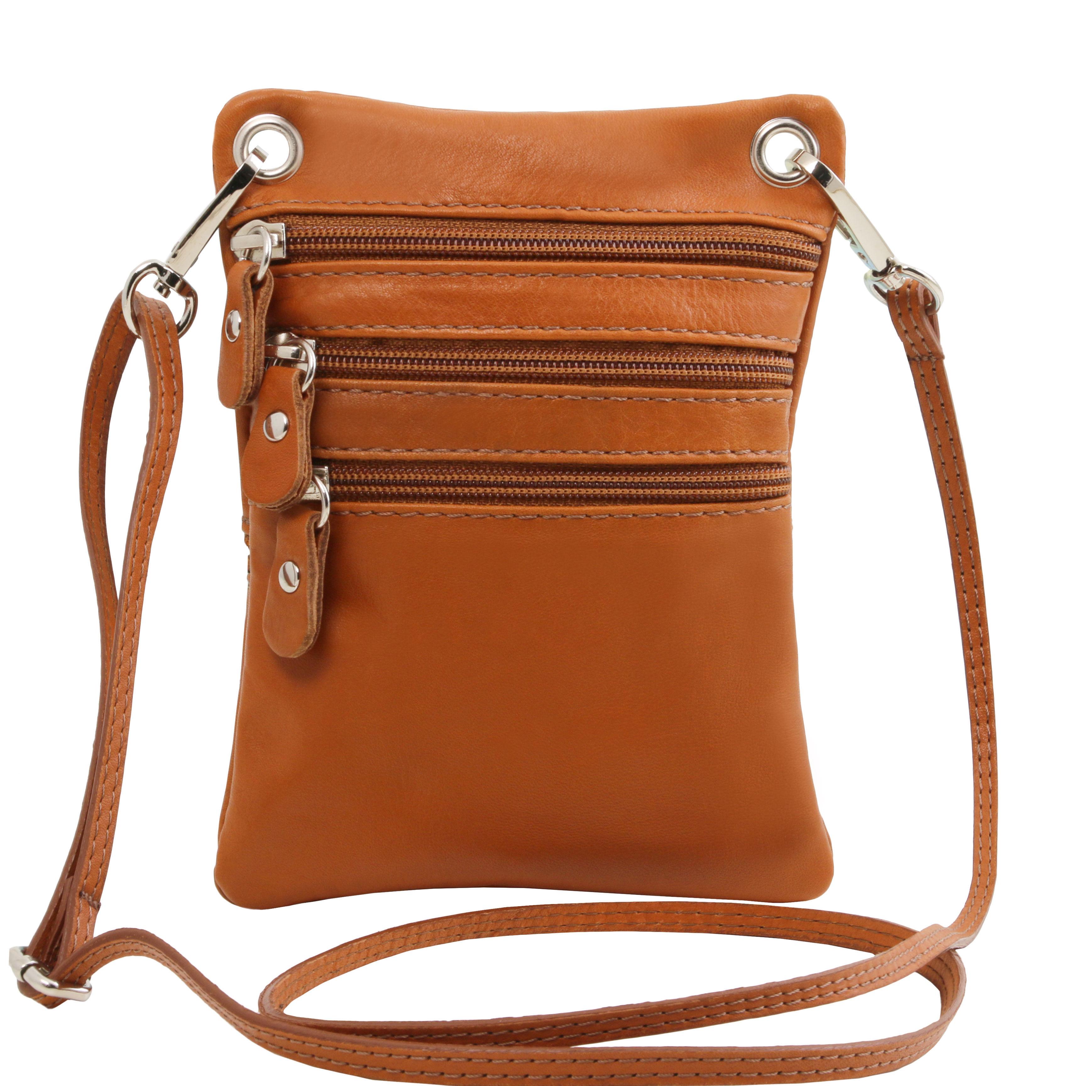 TL Bag - Geanta din piele soft mini cross cognac