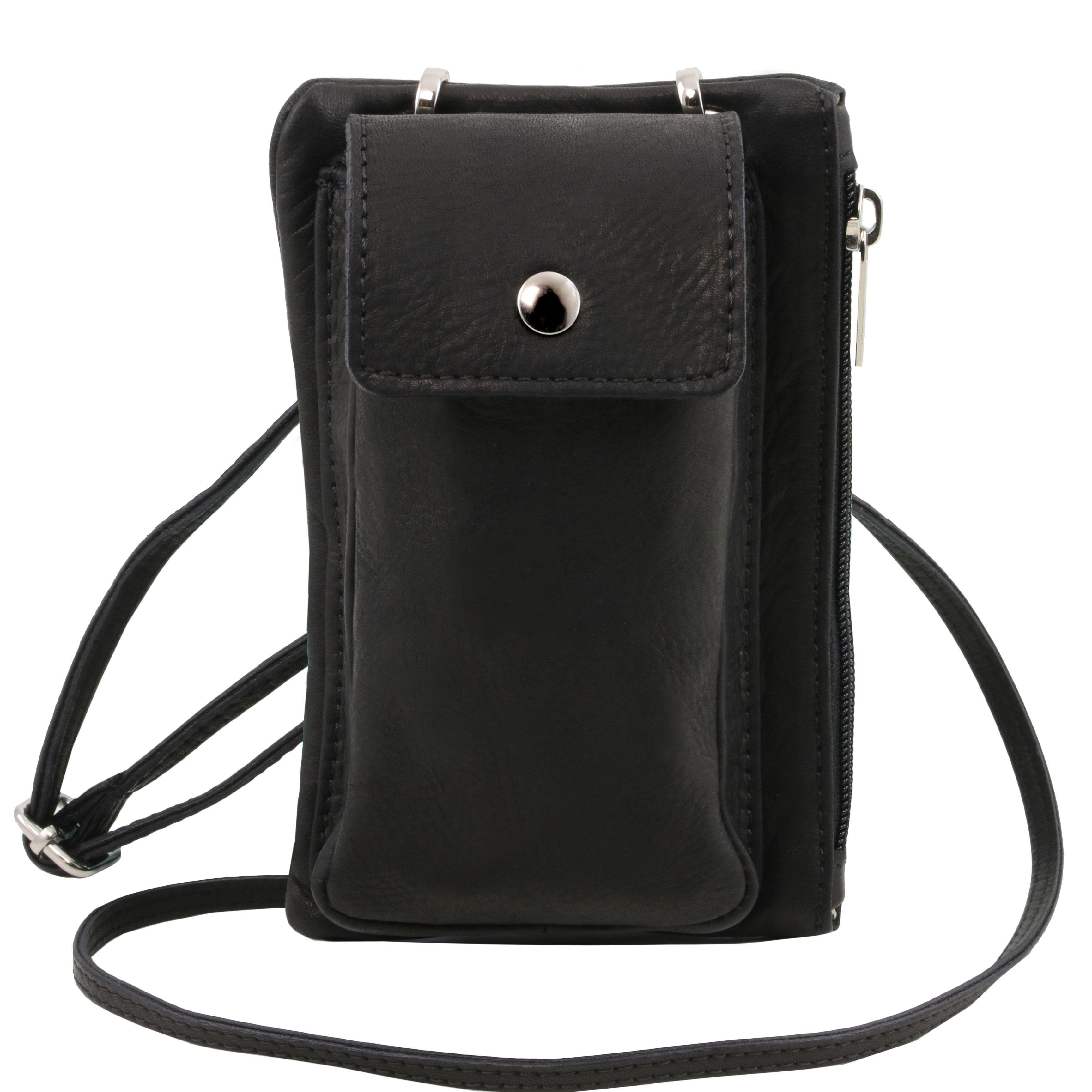 TL Bag - Geanta telefon mini cross din piele neagra