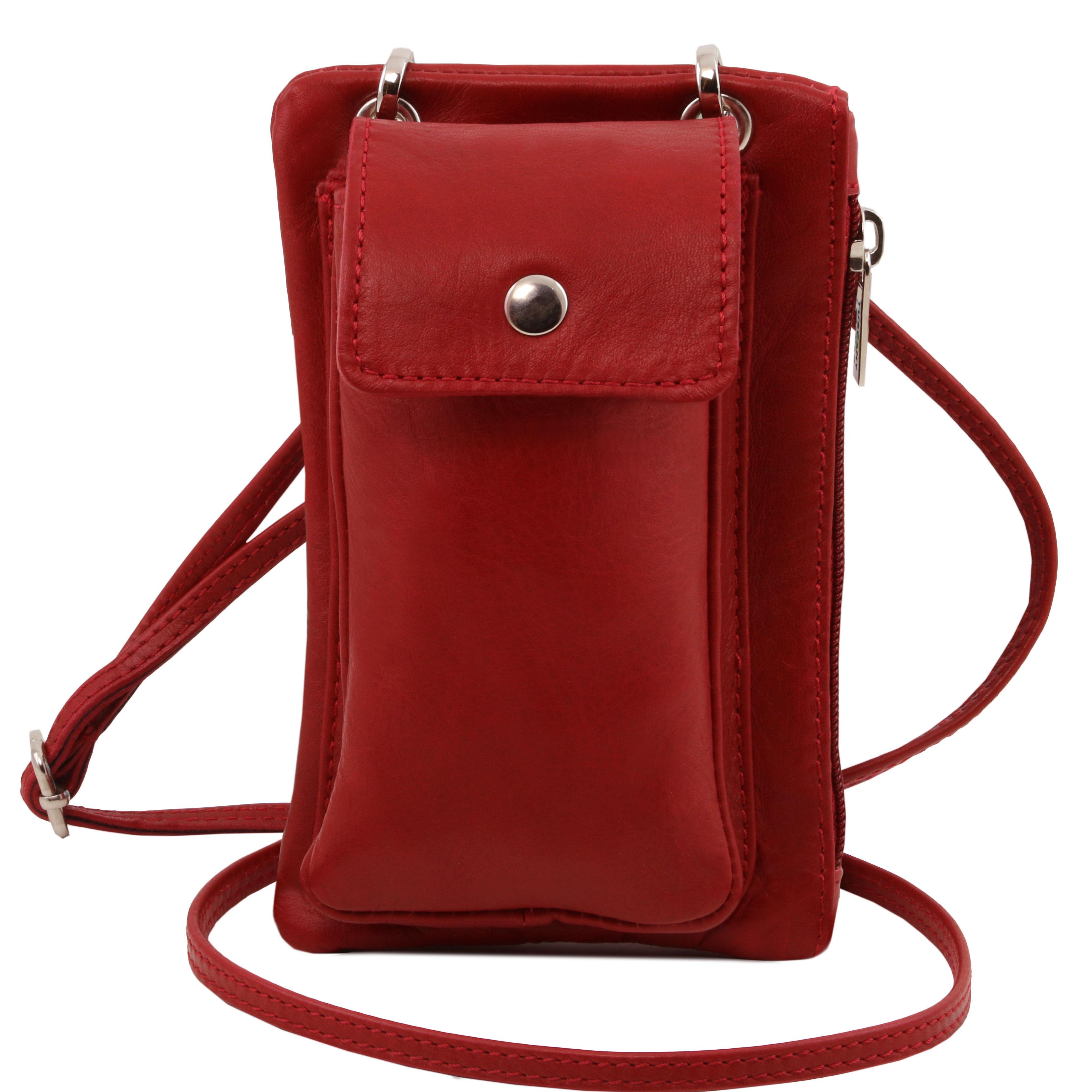 TL Bag - Geanta telefon mini cross din piele rosie
