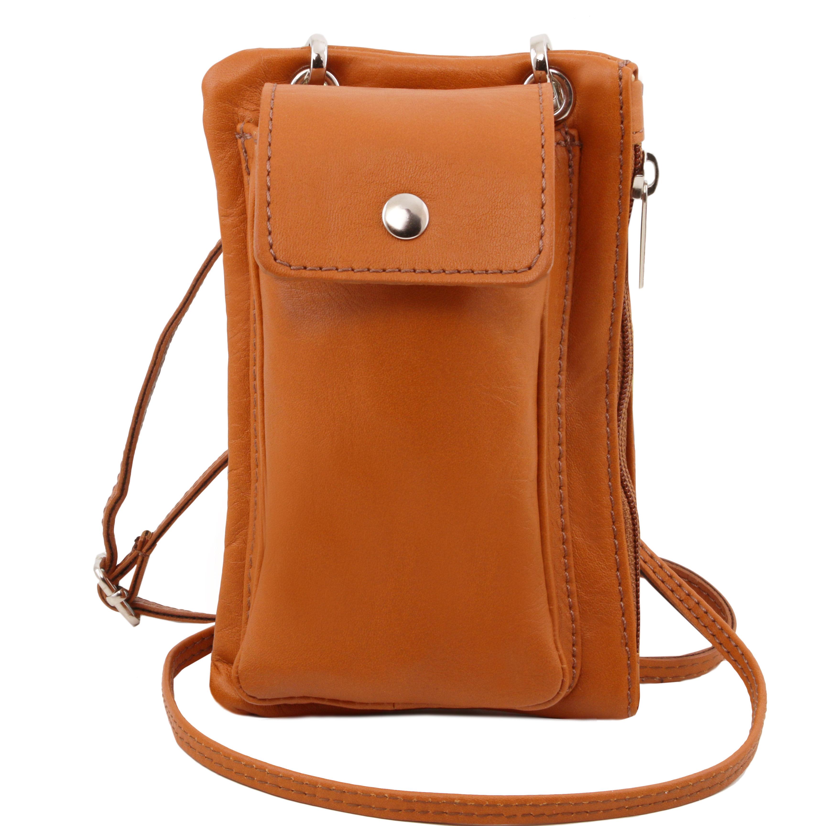 TL Bag - Geanta telefon mini cross din piele cognac