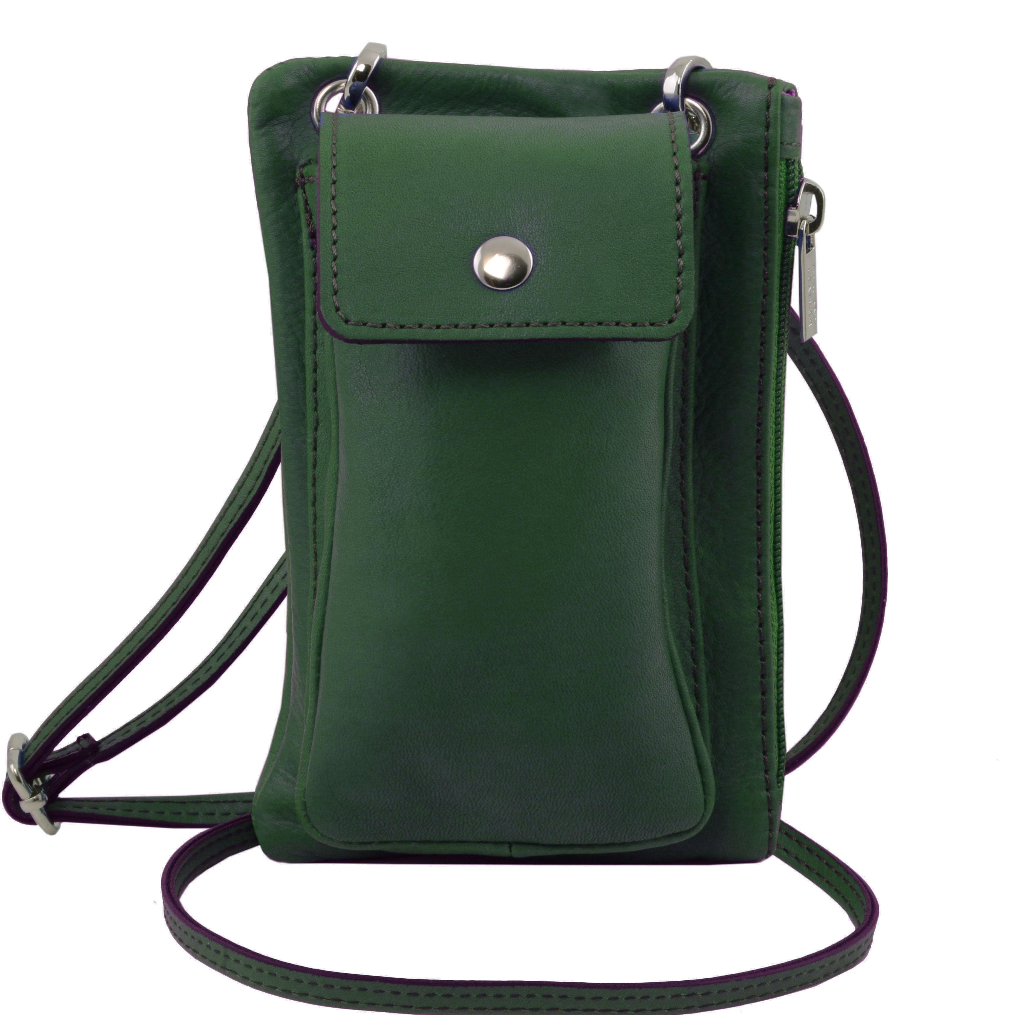 TL Bag - Geanta telefon mini cross din piele verde inchis