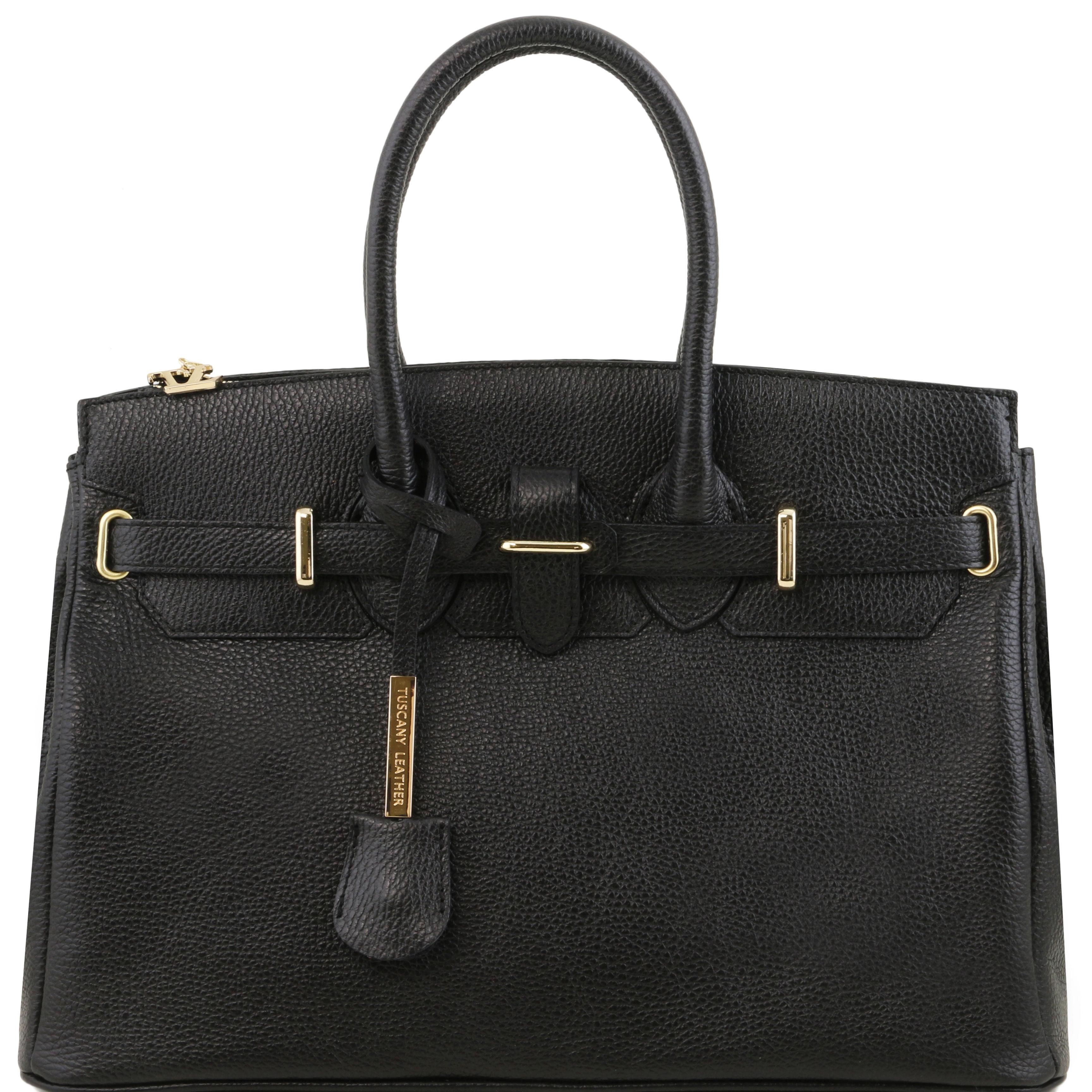 TL Bag - Geanta din piele neagra cu elemente metalice
