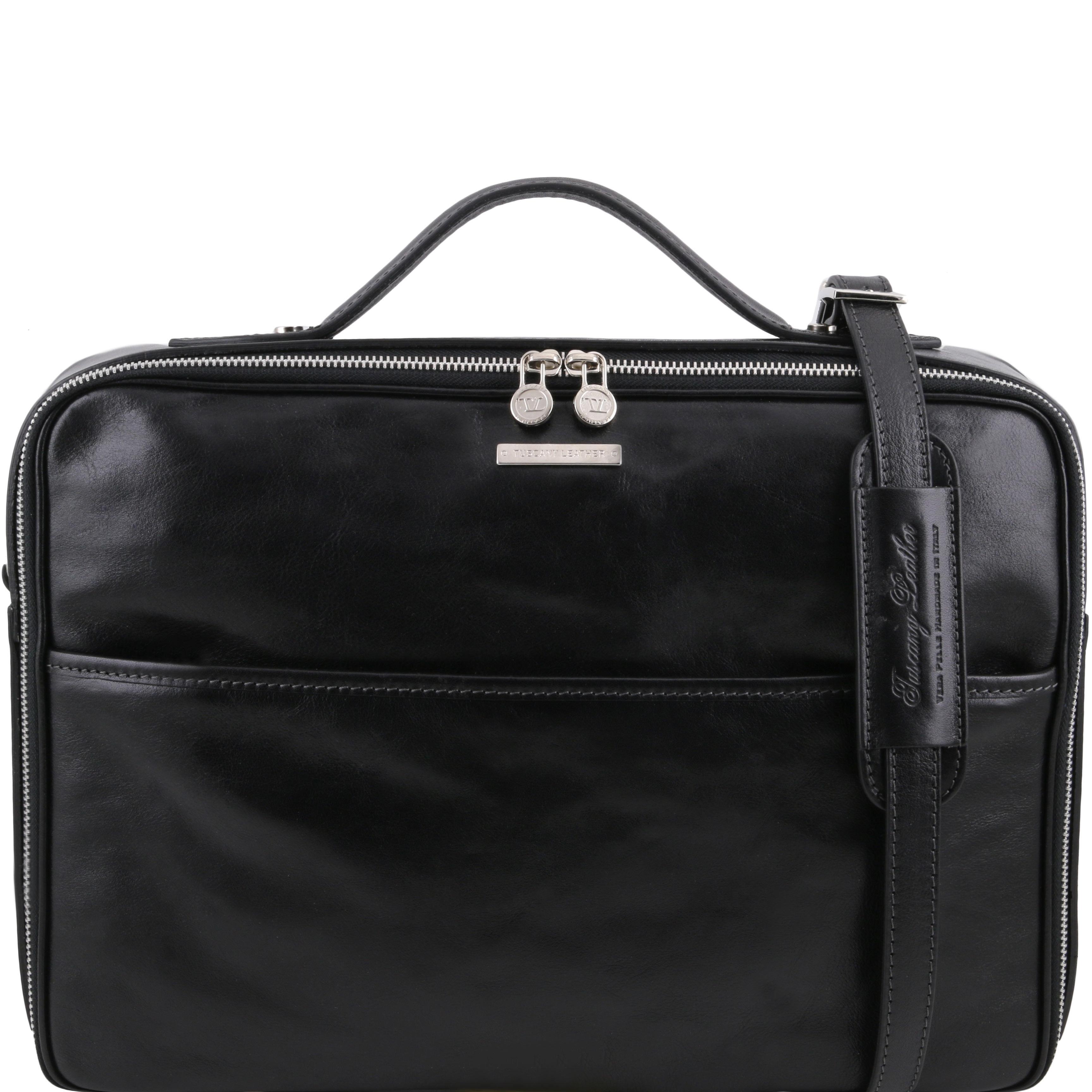 VICENZA - Servieta laptop din piele neagra cu fermoar