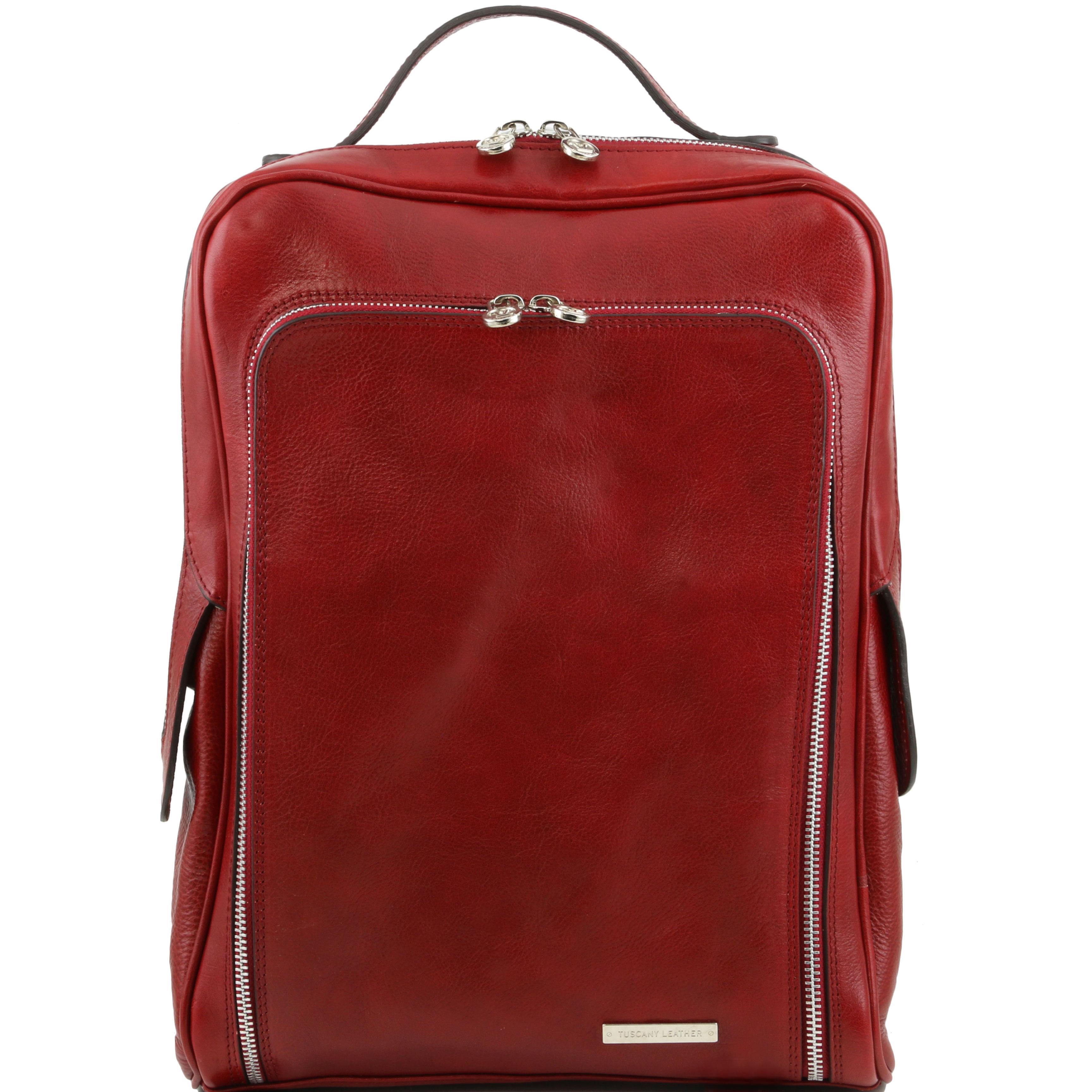 BANGKOK - Rucsac laptop din piele rosie