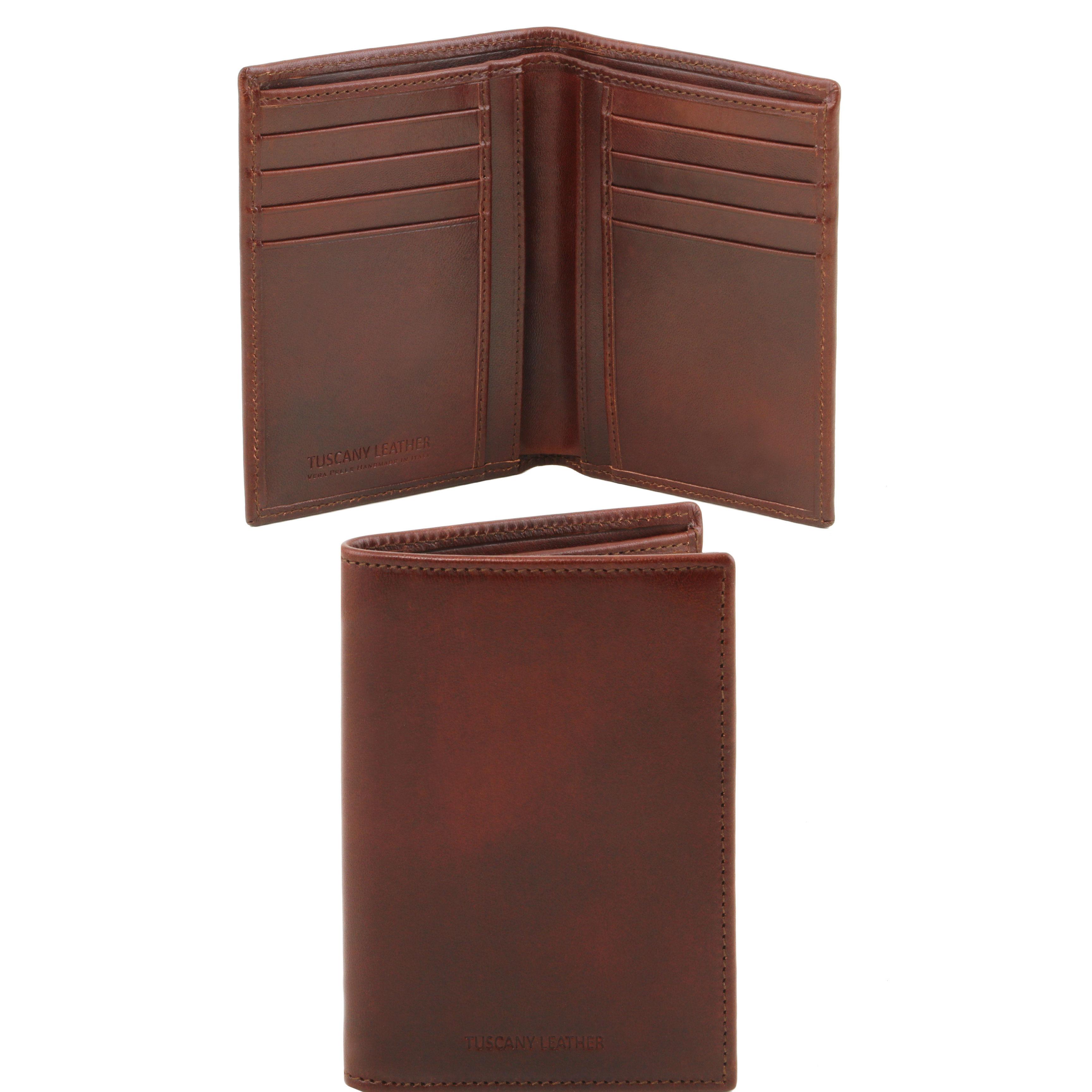 Portofel vertical din piele maro 2 fold