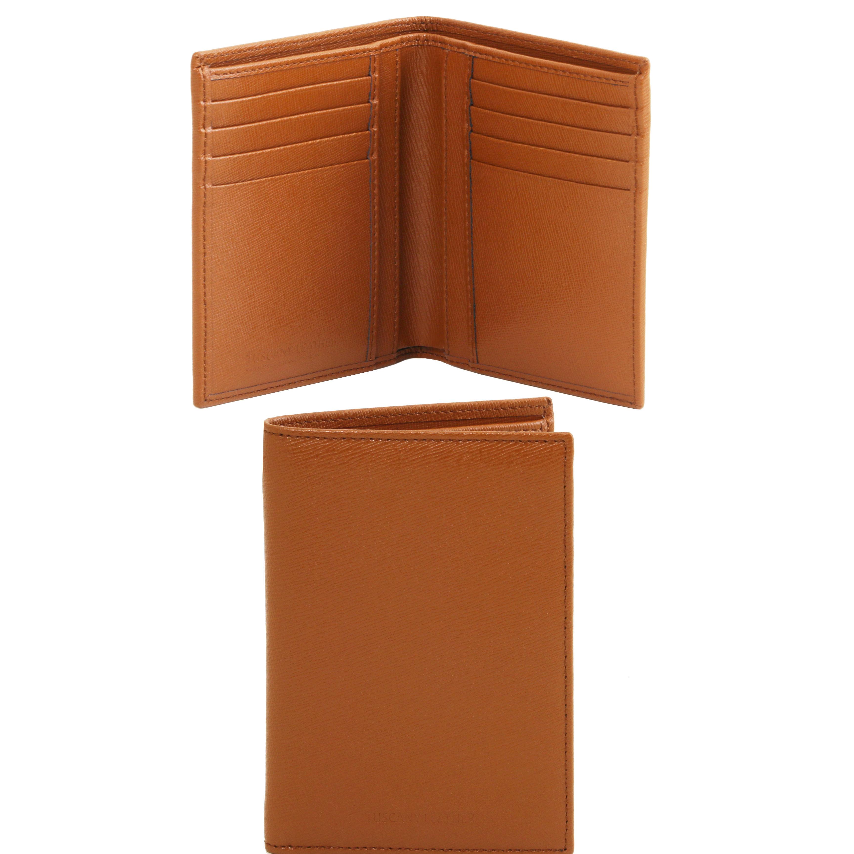 Portofel vertical din piele saffiano cognac 2 fold