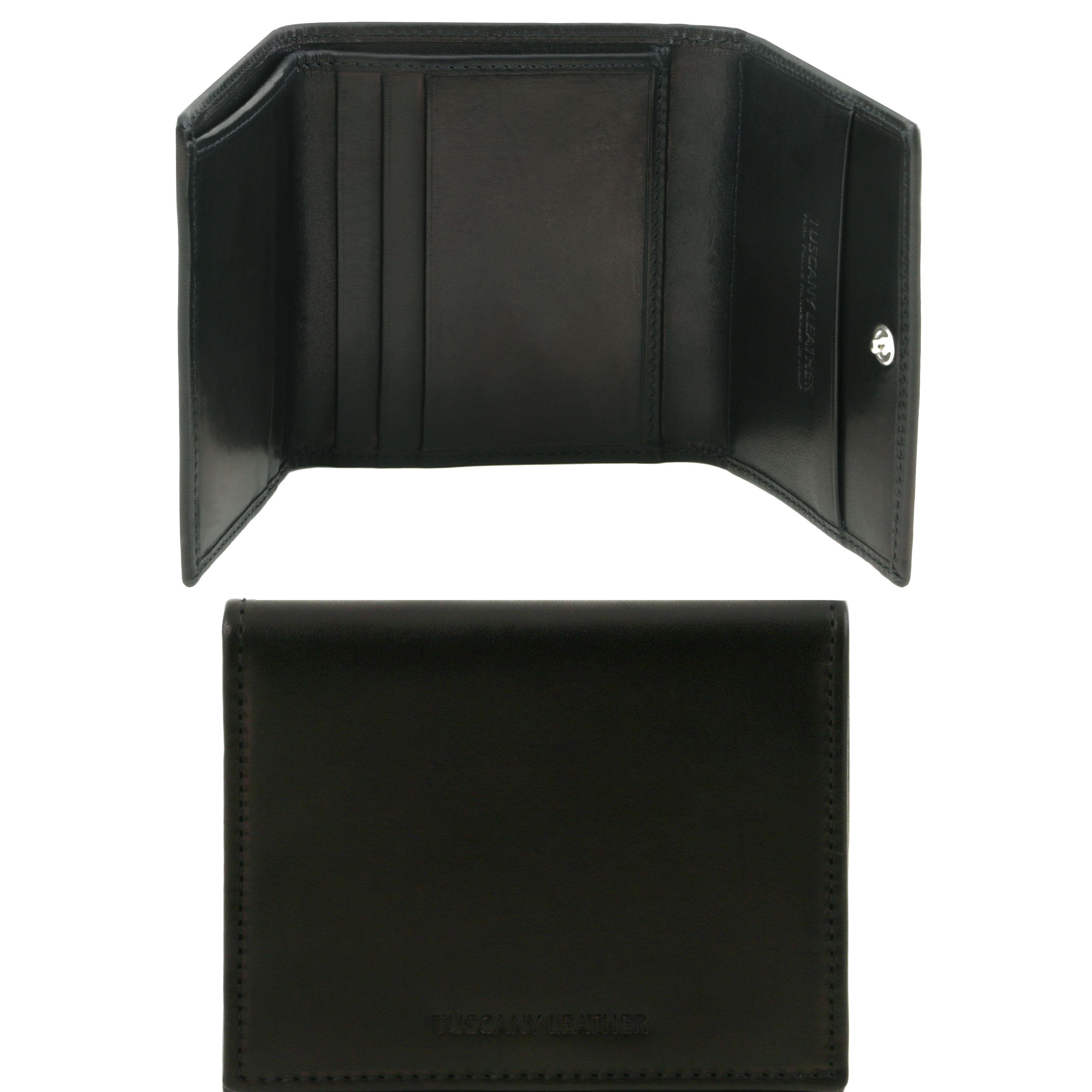 Portofel din piele negru 3 fold