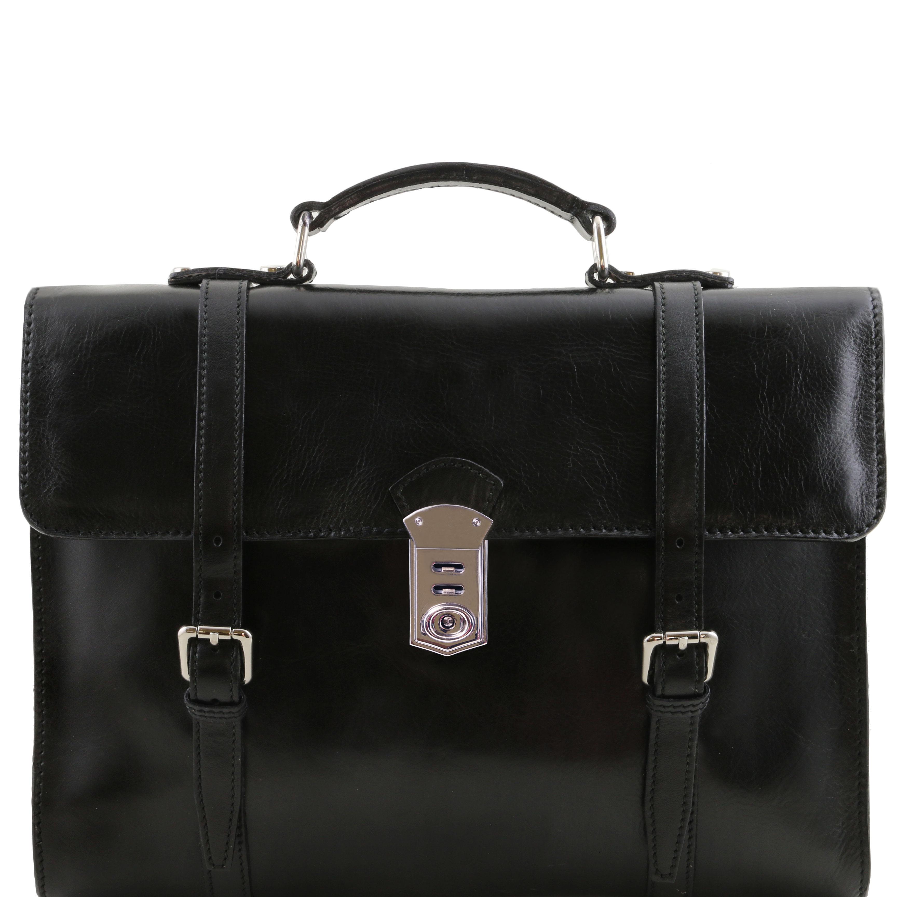 VIAREGGIO - Geanta laptop din piele neagra cu 3 compartimente