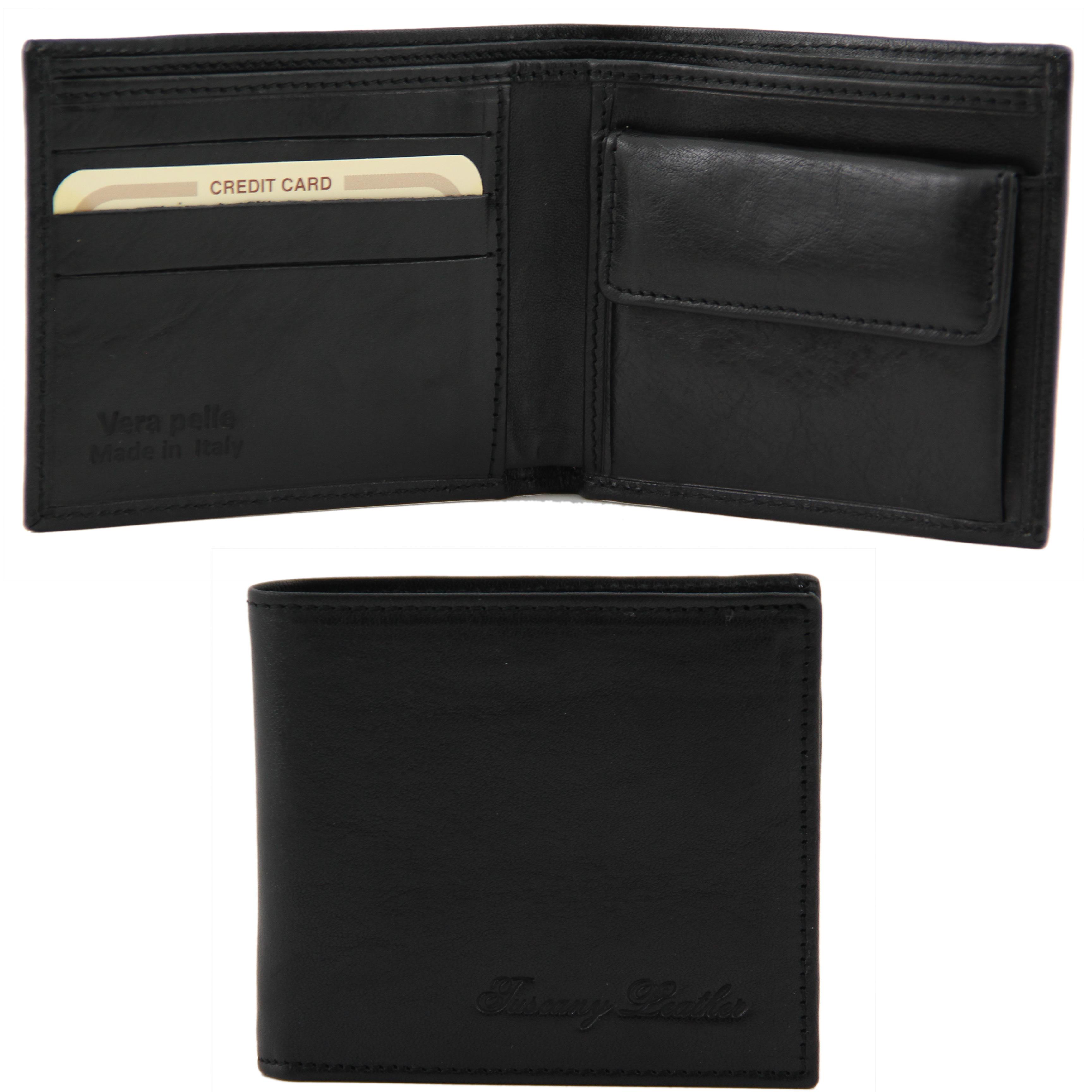 Portofel din piele negru cu buzunar pentru monede 2 fold