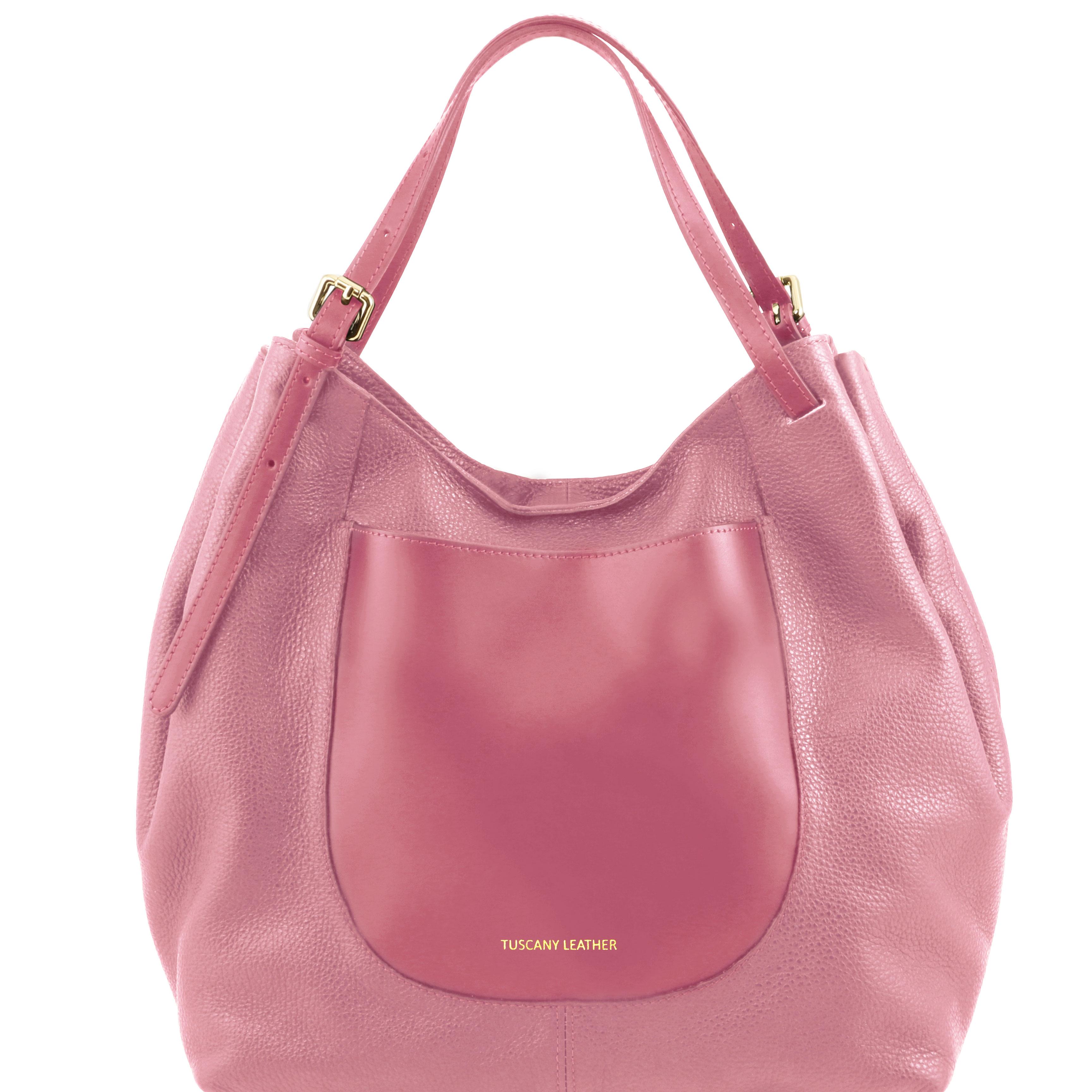 CINZIA - Geanta shopper dark taupe din piele roz
