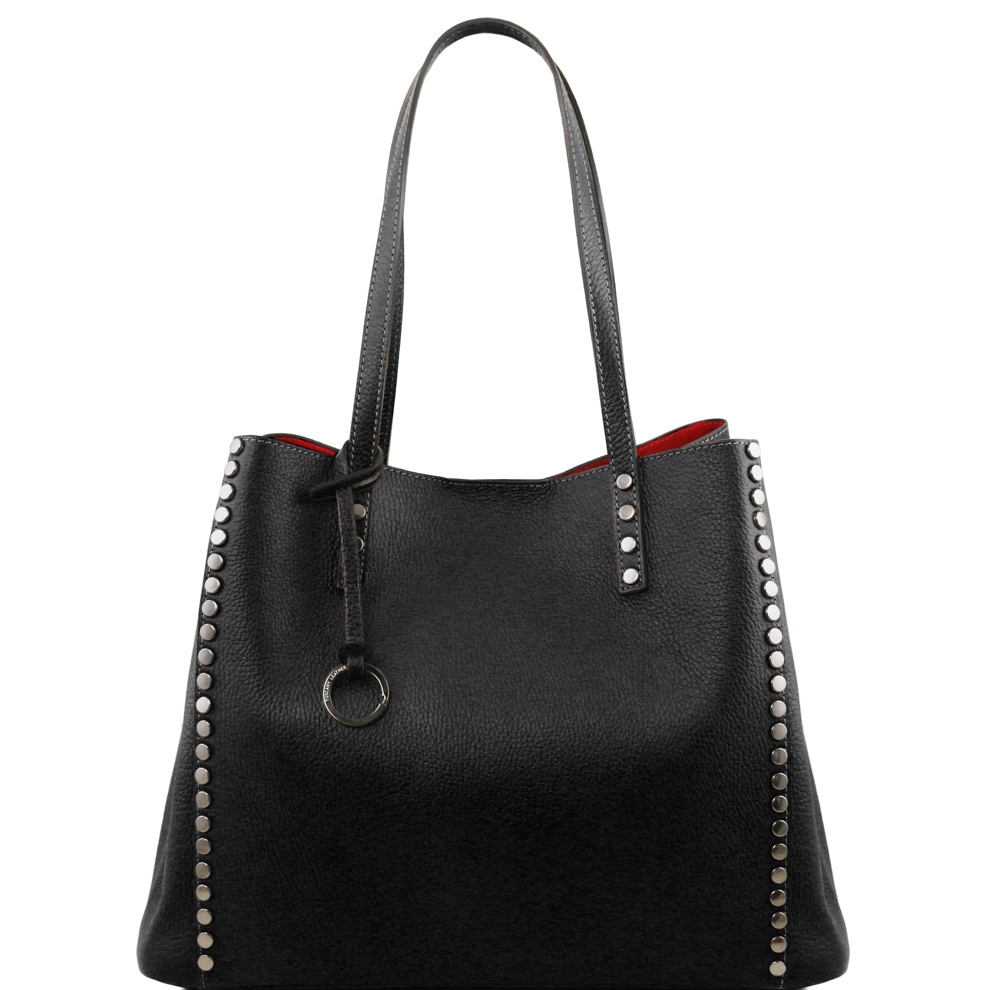 TL BAG - Geanta shopper din piele soft neagra