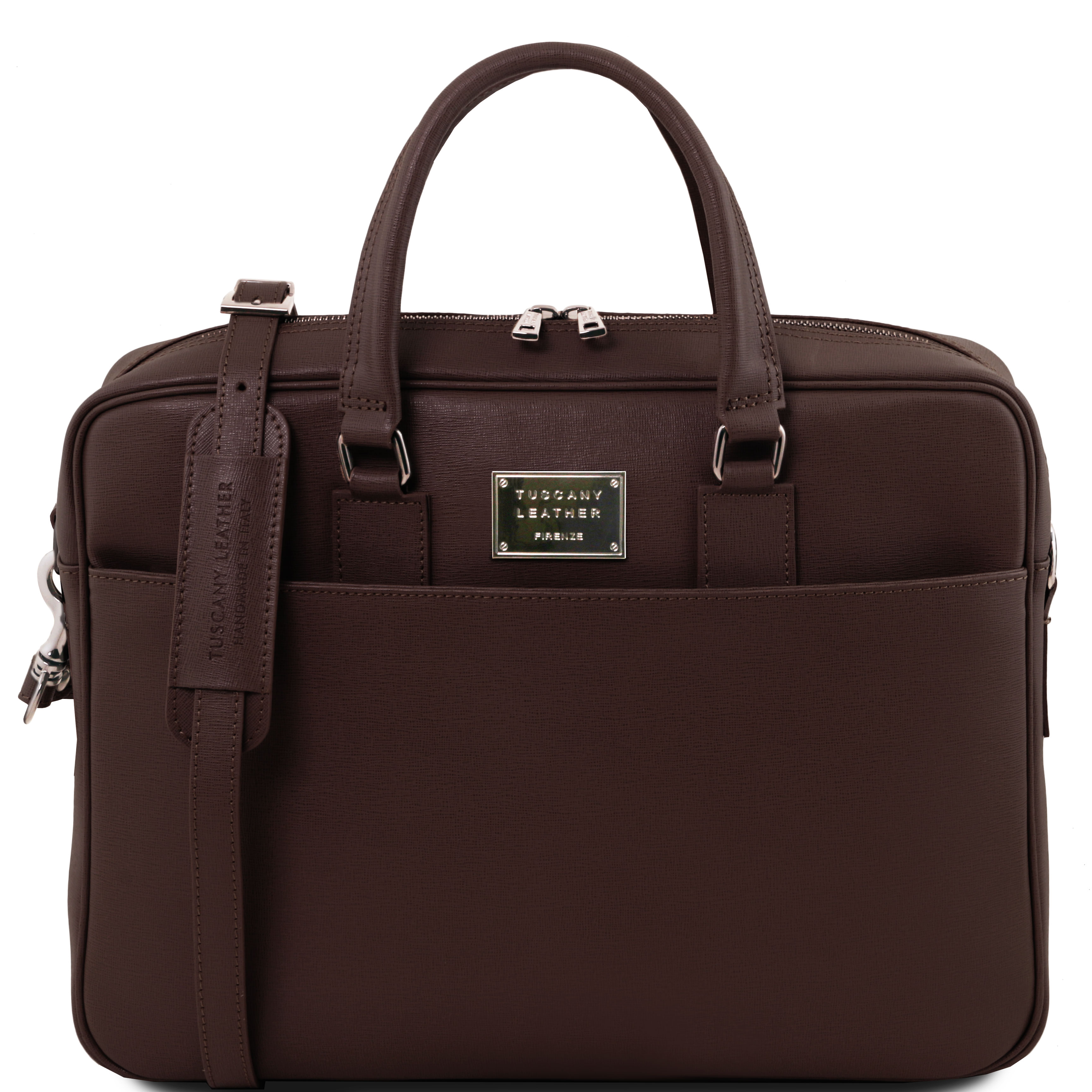 Geanta Tuscany Leather din piele maro inchis laptop saffiano