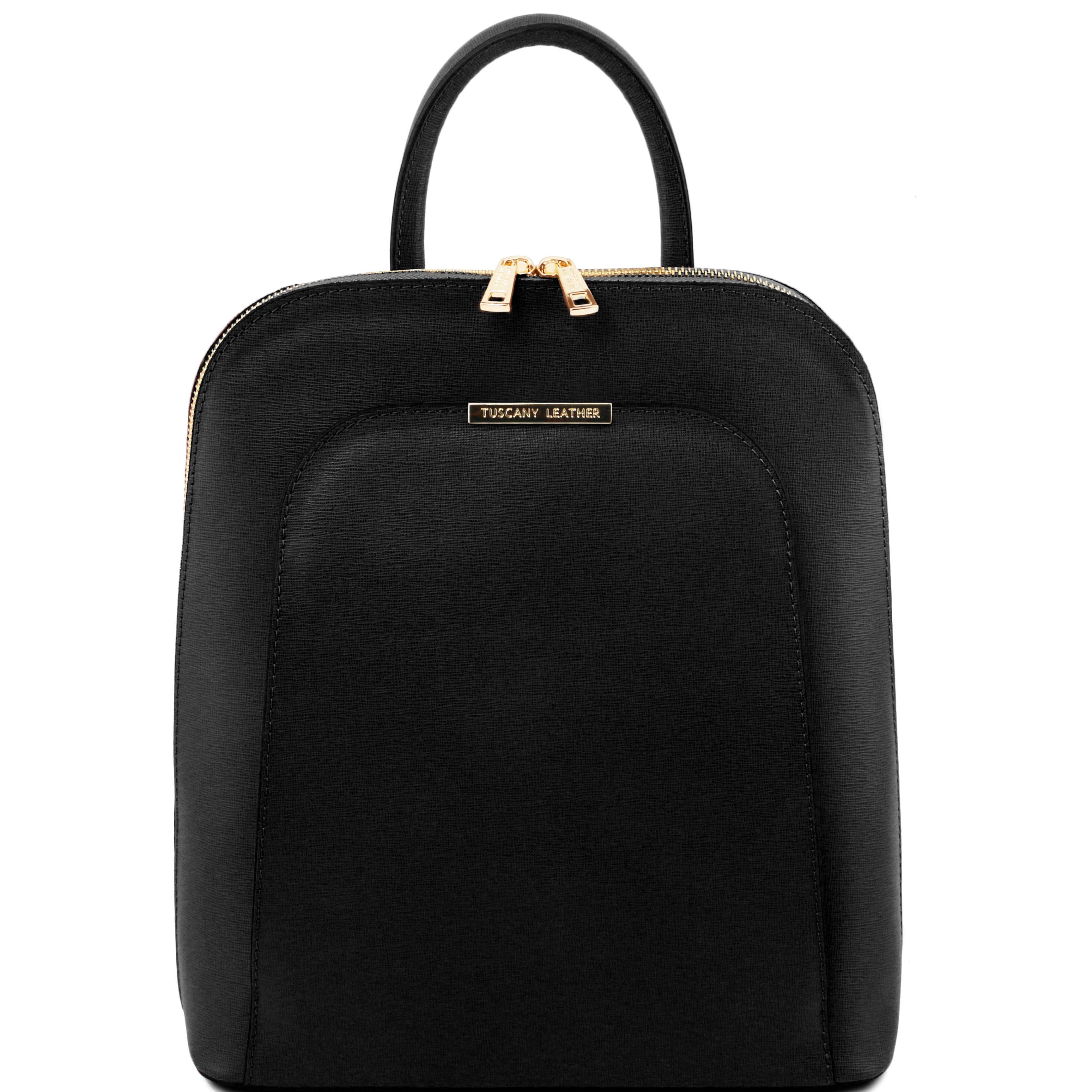 TL BAG - Rucsac negru din piele saffiano