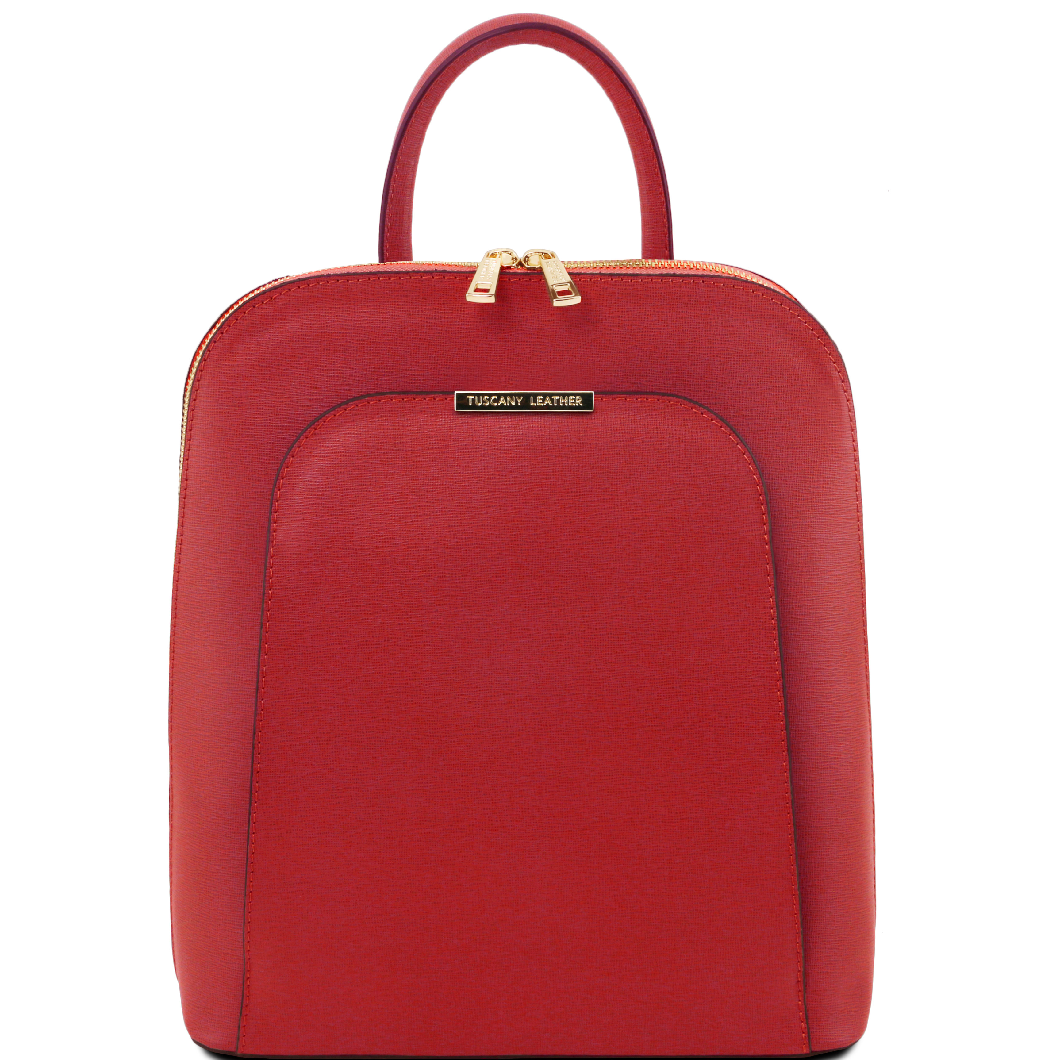 TL BAG - Rucsac rosu din piele saffiano