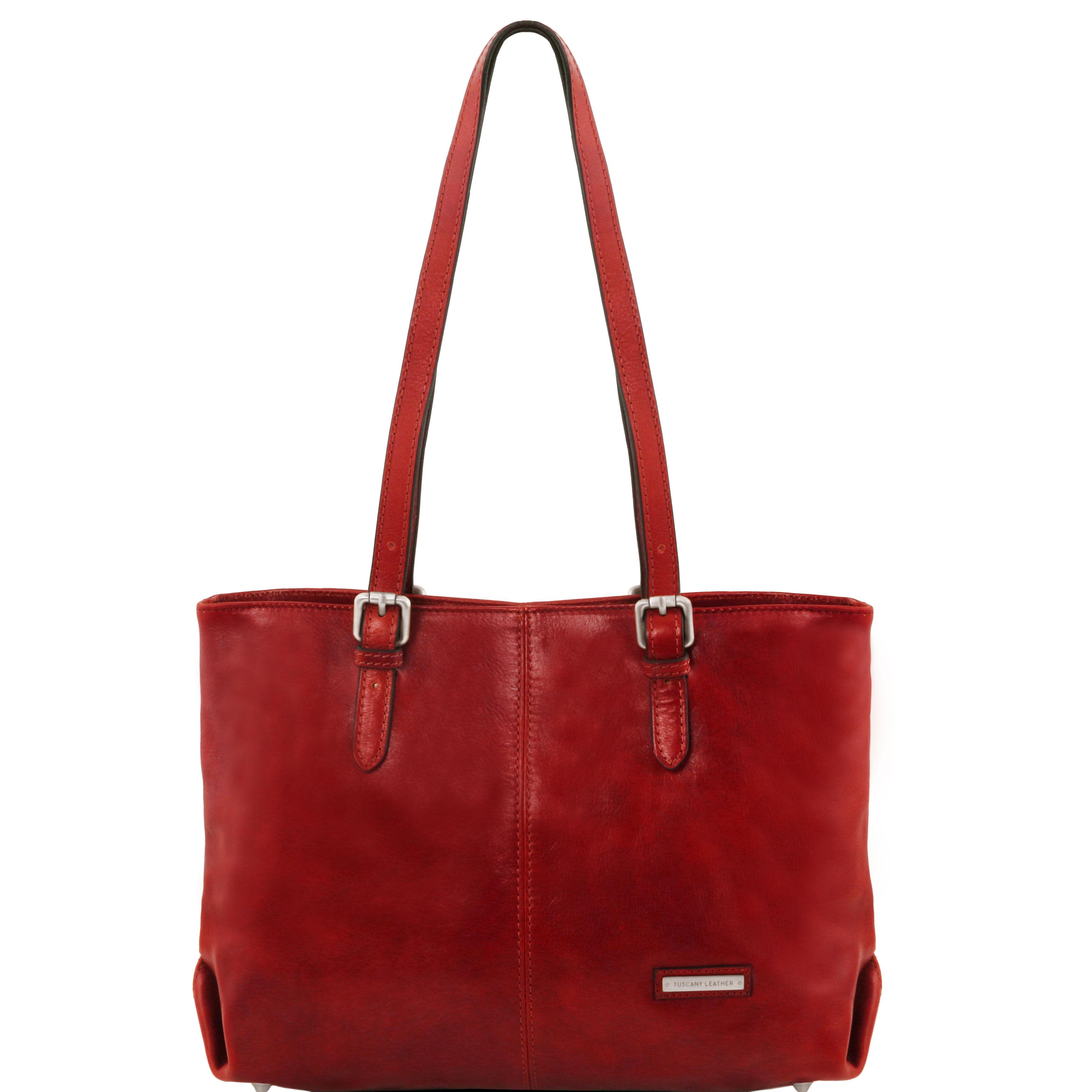 ANNALISA - Geanta shopper din piele rosie