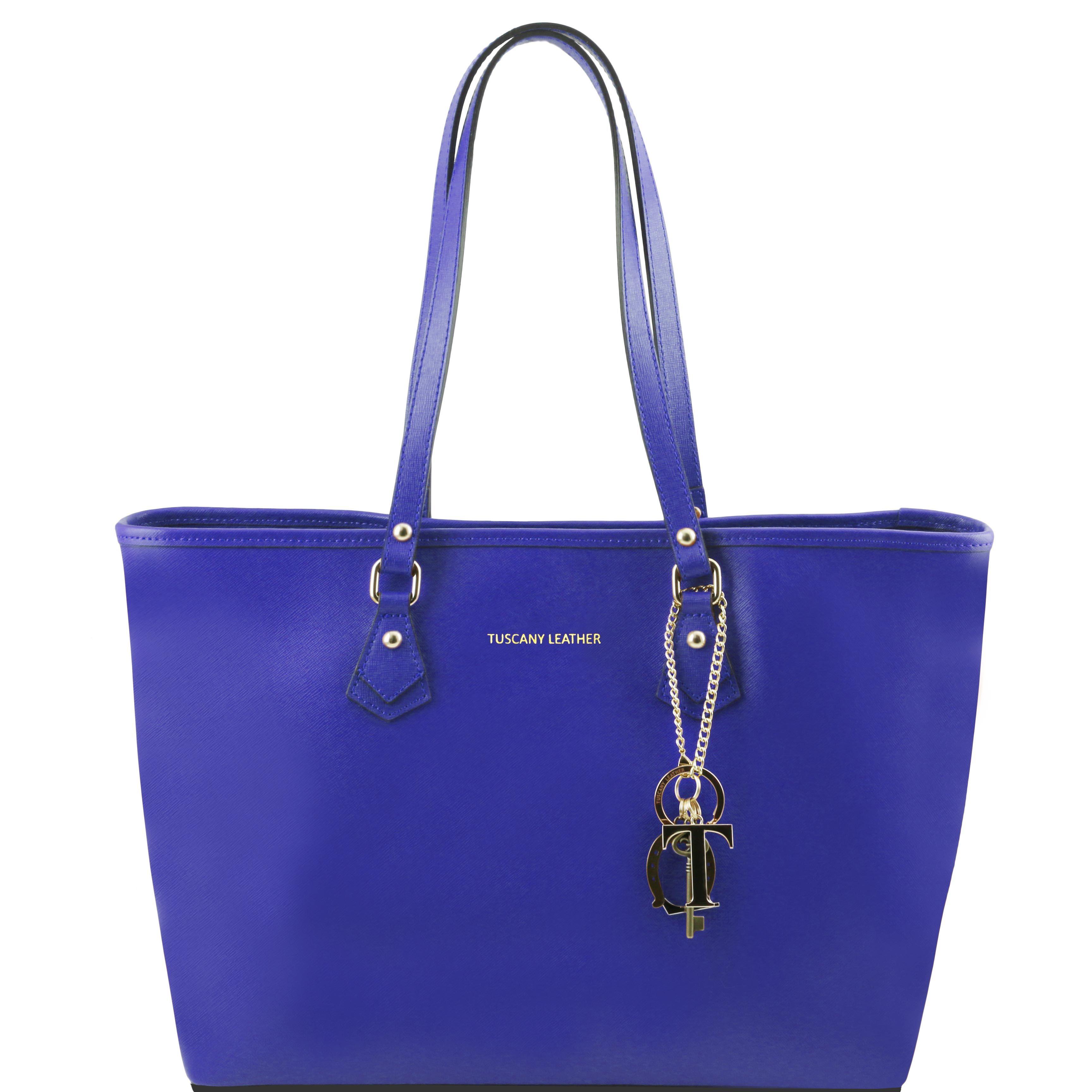 TL KeyLuck - Geanta shopping din piele Saffiano albastra