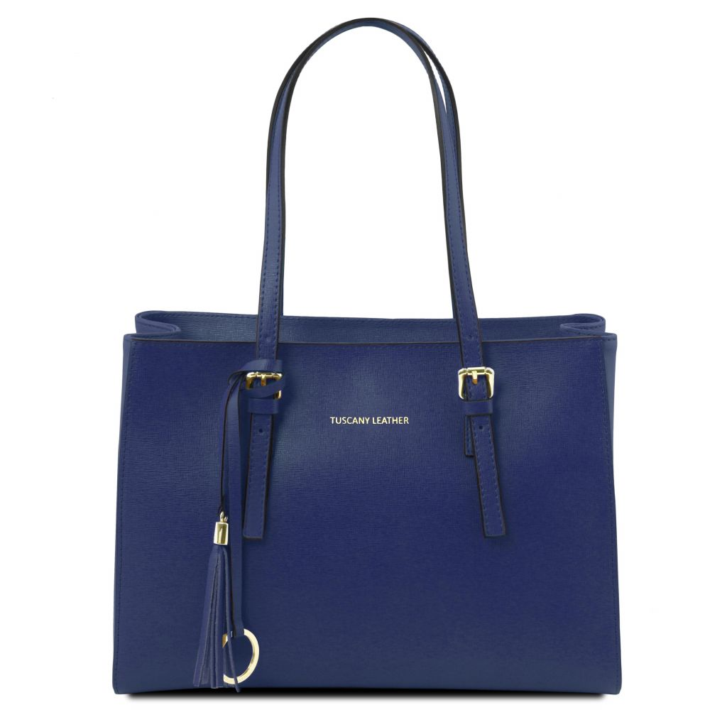 TL Bag - Geanta albastru inchis din piele Saffiano