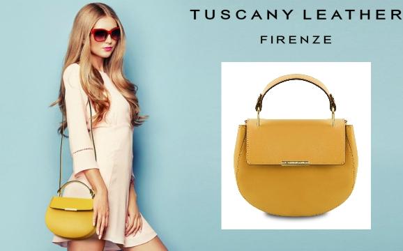 Geanta dama galben mustar din piele naturala Tuscany Leather
