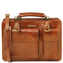 Geanta dama din piele naturala Tuscany Leather, honey, Tania marime mare