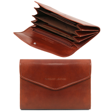 Portofel dama Tuscany Leather tip acordeon din piele maro