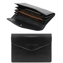 Portofel dama din piele naturala Tuscany Leather, tip acordeon, negru