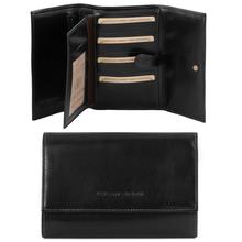 Portofel dama Tuscany Leather din piele negru