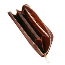Portofel dama din piele naturala Tuscany Leather tip acordeon, maro