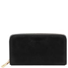 Portofel dama din piele naturala Tuscany Leather tip acordeon, negru