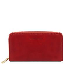 Portofel dama din piele naturala Tuscany Leather tip acordeon, rosu
