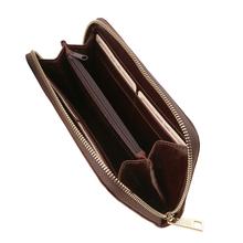 Portofel dama Tuscany Leather tip acordeon din piele naturala maro inchis