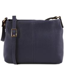 Geanta piele naturala dama Tuscany Leather, albastru inchis