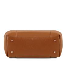 Geanta din piele naturala Tuscany Leather, coniac, Tulipan