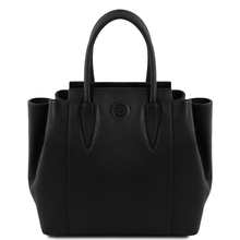Geanta dama din piele naturala Tuscany Leather, neagra, Tulipan
