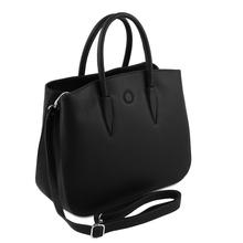 Geanta dama din piele naturala Tuscany Leather, neagra, Camelia