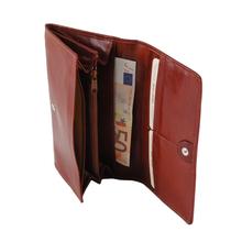 Portofel dama Tuscany Leather tip acordeon din piele naturala rosu
