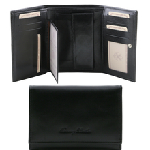 Portofel dama din piele naturala Tuscany Leather, negru