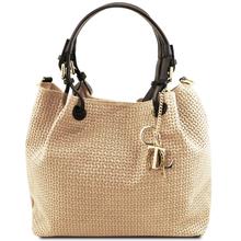 Geanta de umar shopper Tuscany Leather din piele printata bej Keyluck